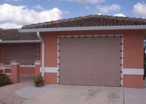 Garage door protected with Hurricane Fabric